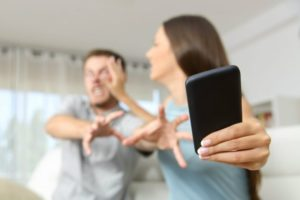 Couple fighting over phone