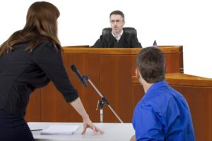 Man and attorney in court