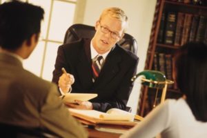 Lawyer meeting with couple